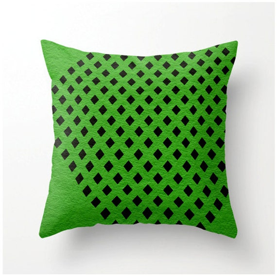 Items similar to Decorative Throw Pillow Black and Green Geometric Design - home decor accent ...