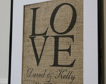 Free US Shipping...Lovely Personalized Burlap Print - great Valentines gift, wedding gift, anniversary gift!