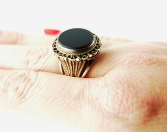 SALE: Onyx Ring - Sterling Silver - Vintage