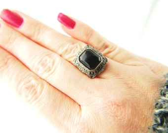 Deco Marcasite Ring - Sterling Silver - Vintage