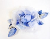 Blue millinery rose with japanese velvet leaves vintage rhinestone accents