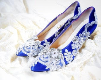 NEW satin royal blue and silver applique and diamond rhinestone marie Antoinette shoes rococo size 7.5