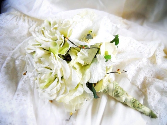 Meadow- pale green and white flower wedding bouquet