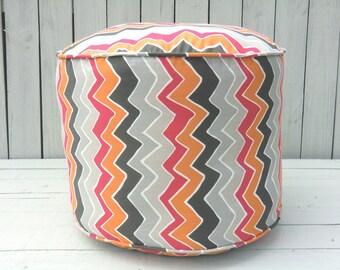 """Pink chevron pouf ottoman,round ottoman 18"""", bean bag chair, pouffe, nursery pouf, pink floor cushion"""
