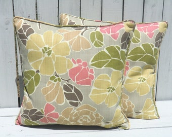 flower outdoor pillow cover 20x20 tropical outdoor lounge chair cushion green soft pink gray. Black Bedroom Furniture Sets. Home Design Ideas