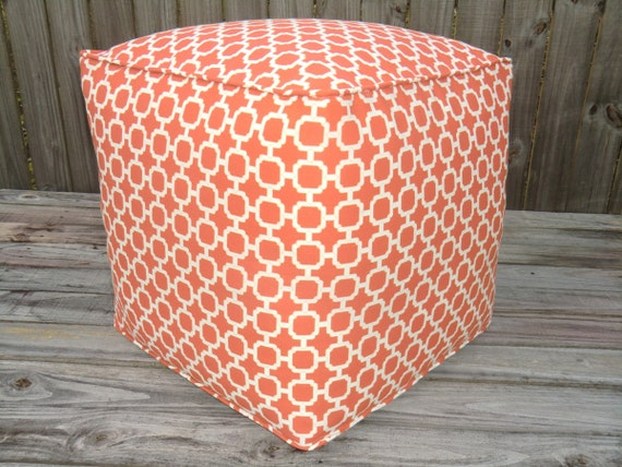 Orange Outdoor Pouf Square Ottoman In 18 Cube Pouf By