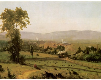 Wooden jigsaw puzzle. LACKAWANNA VALLEY. George Innes. American landscape painting. Wood, handcut, handcrafted, collectible. Bella Puzzles.