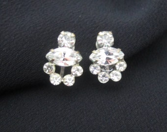 RHINESTONE Earrings screw backs Dainty