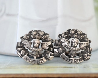vintage find sterling silver cuff links GUARDIANS angel cufflinks with virgo signs