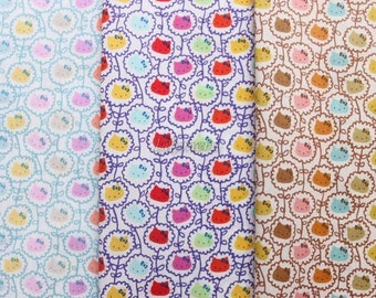 3 pcs of Liberty Hello kitty fabrics printed in Japan - Wall flower - 2013