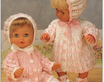 Knitting Pattern Doll/Premature Baby Coat,Jacket, Leggings, Bonnet and Booties