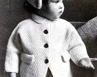 Knitting PATTERN for Coat and Hat/Bonnet to fit  Toddler//Child 1,2 and 3 years Vintage style