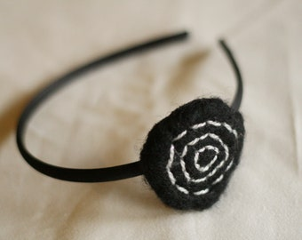 Black and Silver Felt Headband