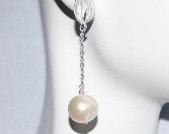 Wedding Earrings- Wedding Jewelry- Bridal Jewelry-Fresh Water Pearl Dangle Drop Earrings-June Birthstone Earrings