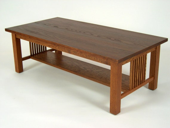 Mission Oak Arts Crafts Stickley Style Coffee Cocktail Table By