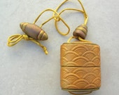 Japanese Contemporary Gold Inro Necklace - Opens, Netsuke & Ojime, Small Purse Necklace, by SandraDesigns