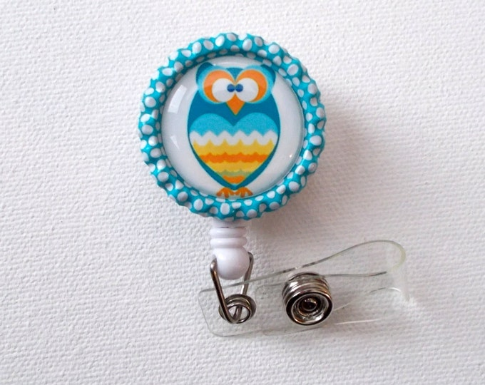 Blue Zig Zag Owl - ID Badge Holder - ID Badge Reel - Name Badge Holder - nicu Badge - Veterinarian Badge - Nurse Badge Holder