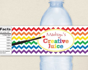 Art Party - 100% waterproof personalized water bottle labels