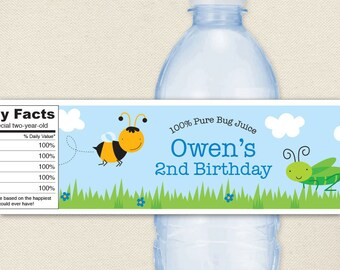 Insect Party - 100% waterproof personalized water bottle labels
