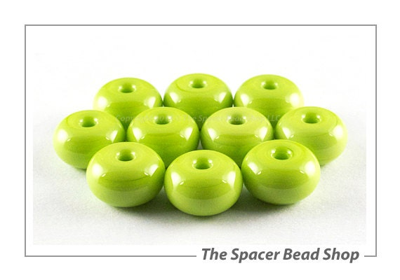 Pea Green Lamp Work Beads Spacers Glass Handmade - The Spacer Bead Shop