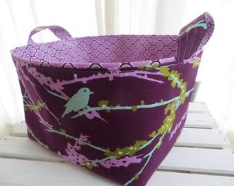 10 x 10 x 7 Fabric Organizer Storage Bin Container Basket - Sparrows Plum