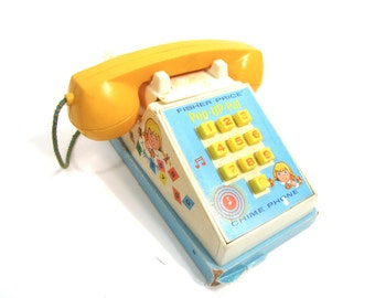 Vintage Fisher Price 1968 Num 150 Pop Up Pal Chime Phone