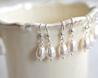 Bridesmaid Gift - 4 Cream or White Teardrop Pearl Earrings in Sterling Silver - choose pearl color