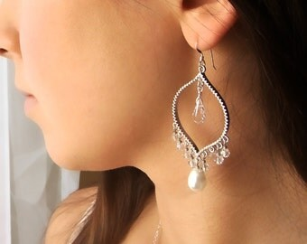 Swarovski Crystal and Pearl Silver Chandelier Earrings - Wedding, weddings, bride, bridal, bridesmaid gift