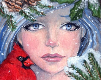 Winter Four Seasons Series ART PRINT Cardinal, Snow, Pine Trees