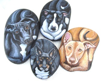 Pet Portraits on a 6 inch stone- Painted Rocks, by Shelli Bowler