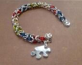 Autism Awareness Bracelet- Asperger Awareness Bracelet-Hand Crafted Autism Awareness Bracelet- Light it up Blue