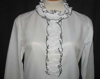 Vintage 1960s White Mod Blouse With Ruffle Neck Trim Never Worn Size Small NOS
