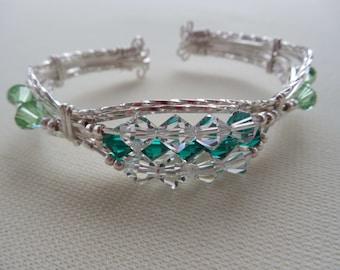 Leprechaun Green Swarovski Crystals in this Cuff Bracelet