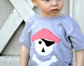 Boys Pirate Party Shirt in Heather Gray with Skull and Crossbone and Red Striped Hat