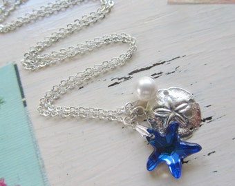 Charm Necklace, Star Necklace,Beach Jewelry,Sand Dollar,Starfish Necklace,Blue,Silver Necklace,Silver Charms,Bridesmaids Gifts,Flower Girl