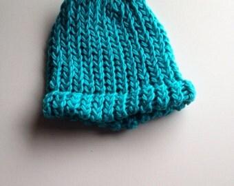 Dark Turquoise Organic cotton baby hat 0-3 months hand knit