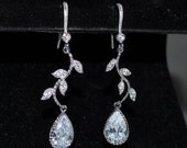 Wedding Bridal Sparkling Vines Earrings with Cubic Zirconia Teardrop Pendant - Custom Requests Welcome