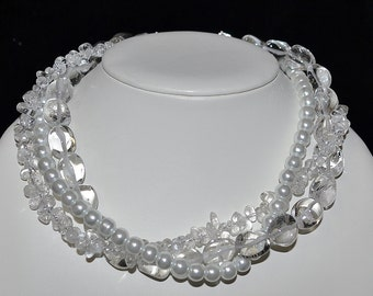 Bridal Wedding Triple Strand Chunky Pearl and Quartz Necklace - Custom Requests Welcome