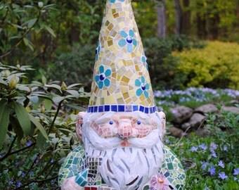 Custom Order Mosaic Garden Gnome Garden Accent Statue