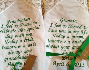 Grandma GRANDMOTHER LACE SCRIPT Heirloom Personalized Wedding Handkerchief Custom Embroidered