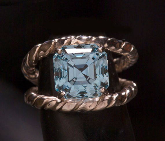 Swiss Blue Topaz Asscher Cut Color Engagement Ring By