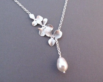 Bridesmaid Necklace, Silver Orchid Flowers with Teardrop Pearl, Wedding Jewelry, Lariat Necklace, Custom Color Pearl