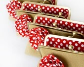 Bridesmaid Gifts - Bridesmaid Purse - Burlap Clutches and Red Polka Dots Flowers - Nautical Wedding Bag Clutches by Lolis Creations