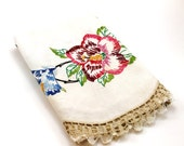 Vintage Hibiscus Red Pink and Blue Embroidered Table Runner -- Vintage Table Linen
