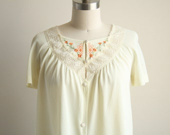 50 Buttercream Night Shirt with Floral Embroidery and Lace - Vintage Sleepwear