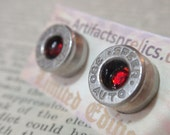 Earrings  -380 Caliber LIMITED EDITION Stud w RED gem Bullet Jewelry Stud style earrings Nickel plated silver