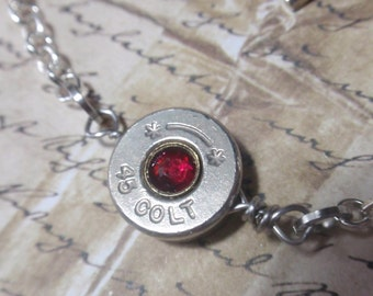 Bullet Casing Bracelet Colt 45 Silver nickel Up Cycled Recycled bullet shells bullet casings Red crystal