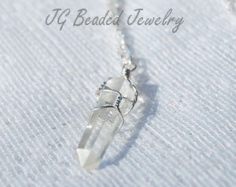 Clear Quartz Crystal Necklace, 18 Inch Raw Quartz Crystal Point Wire Wrapped Necklace, Gemstone Necklace, Healing Crystal