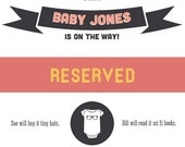 Reserved - Download Customizable Pregnancy Announcement - Cute, Simple, Funny