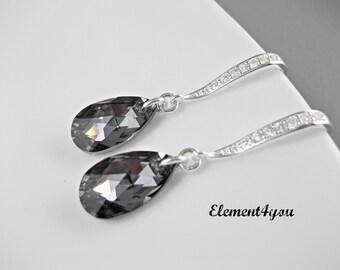 Bridesmaid Earrings, Swarovski black drop, Sterling silver, Cubic zirconia earrings hook, Wedding jewelry, Bridal earrings, Crystal drop.
